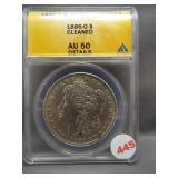 1886-O Morgan silver dollar. ANACS AU50 Details.