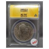 1889-O Morgan silver dollar. ANACS AU50 Details.