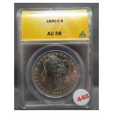 1890-O Morgan silver dollar. ANACS AU58.
