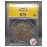 1892-O Morgan silver dollar. ANACS AU55 Details.