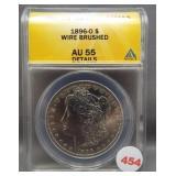 1896-O Morgan silver dollar. ANACS AU55 Details.