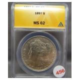 1897 Morgan silver dollar. ANACS MS62.