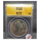 1921-D Morgan silver dollar. ANACS AU55 Details.