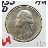 1935-D Washington silver quarter.