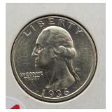 1936 Washington silver quarter.