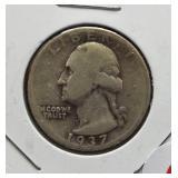1937-D Washington silver quarter.
