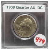 1938 Washington silver quarter.