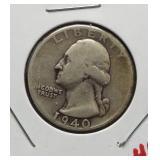 1940-D Washington silver quarter.