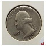 1942-S Washington silver quarter.