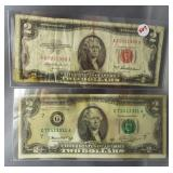 (2) $2 Federal Reserve notes: 1953A, 1976.