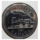 1981 Canadian 50% silver dollar.