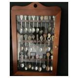 Vintage Spoon Display Case with 30 Spoons