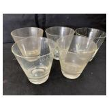 Set of 5 Clear Whiskey Glasses