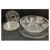 Platter,Glass Bowl and 4 Salad Plates