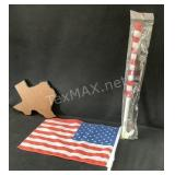 Lot of 2-Decorative Flags & Texas Plaque