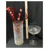 Hurricane Vase; Pedestal Bowl