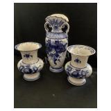 (3) Russian Blue & White Porcelain Vases