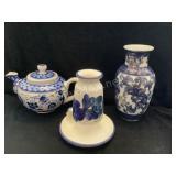Handmade Vase, Teapot & Candle Holder