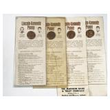 4pc Lincoln-Kennedy pennies: 1970-D, 1973 (3pc) -