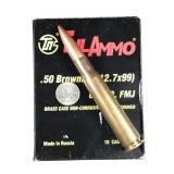 50ca Browning, box of 10rds TulAmmo, 680gr, full