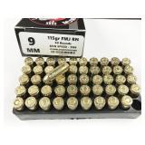 9mm, box of 50rds LMMG Munitions, 115gr, full