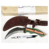 damascus tactical curved blade knife
