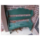 Wood bench 36x12x36, concrete basket & gazing ball