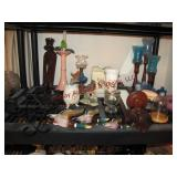 2 pcs: candle stick holders, vases, tissue holders
