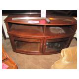 Wood TV stand w/ 2 glass doors 50x19x30