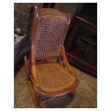 Childs wooden cane seat & back rocking chair