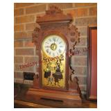 Antique wood mantle clock by Eight Day