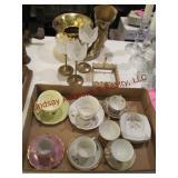 16 pcs: teacups/saucers, votive holders, brass