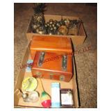 2 fltas w/ 2 wooden boxes, plastic fruit & other