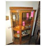 Oak curved glass china hutch w/ wood shelves