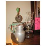 3 pcs: Pottery style hand mixer, kerosene lamp &