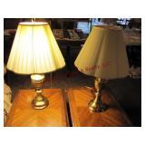 "2 - brass lamps 3 way bulbs approx 32"" t"