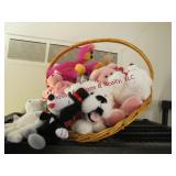 Large basket w/ stuffed animals