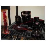 8 pcs red glassware: pitcher, glasses, vase,