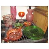 9 pcs: pink & green dishes