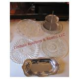 7 pcs mixed glassware: platters