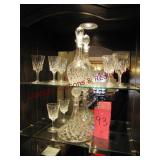 2 - heavy crystal decanters w/ 6 glasses