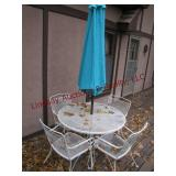 "Metal 42"" patio set w/umbrella 4 chairs"