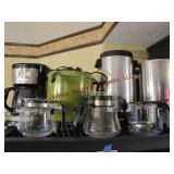 4 mixed coffee pots w/ cords & 3 extra glass pots
