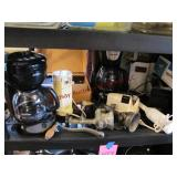 Group small appliances: 2 coffee pots, burger