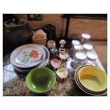 Approx 24 pcs mixed dishes, jars, cookie jar &
