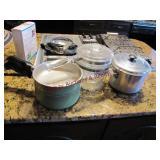 2 - Wear-ever pots, Pyrex double boiler &