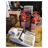 Canon adding machine & 3 fire extinguishers