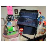 Group w/ iron, paper shredder, cleaning supplies,