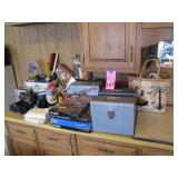 Group w/ 4 metal file boxes, puzzles, flashlights,