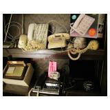 2 shelves of vintage phones & TV antenna